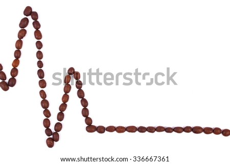Electrocardiogram line of brown roasted coffee grains on white background, copy space for text, ecg heart rhythm, medicine and healthcare concept - stock photo