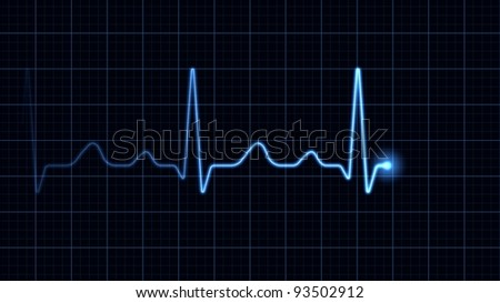 Electrocardiogram on a blue screen - stock photo