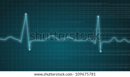 Electrocardiogram or Cardiogram with Binary Data flowing indicating Motion - stock photo