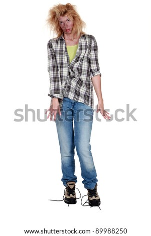 Electrocuted woman having difficulty walking - stock photo