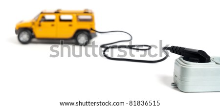 Electromobile concept isolated on white - stock photo