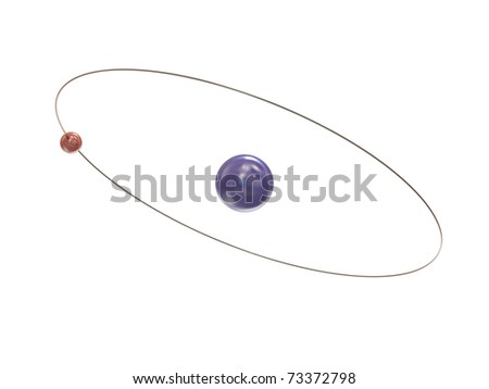 Electron and path around the nucleus on white background - stock photo