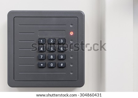 electronic access control door box with numeric keypad on white background