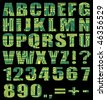 Electronic alphabet with letters and digits from circuit board on black background - stock photo