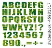 Electronic alphabet with letters and digits from circuit board on white background - stock photo