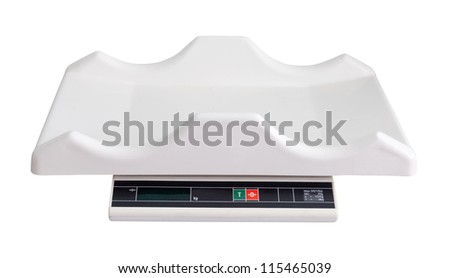 electronic baby scale. Isolated  over white background - stock photo