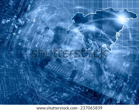 Electronic background in blues with map, device and digits. - stock photo