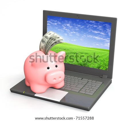 Electronic bank account. Piggy bank and laptop. Objects isolated over white - stock photo