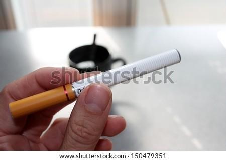 electronic battery powered vapour ecigarettes vaping - stock photo