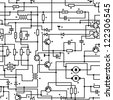 Electronic black and white diagram - technical schematic seamless texture - stock photo