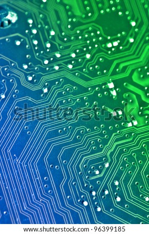 Electronic board background. Color added with editing software - stock photo