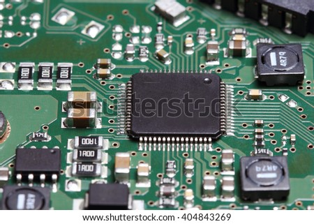 Electronic board photographed in macro mode