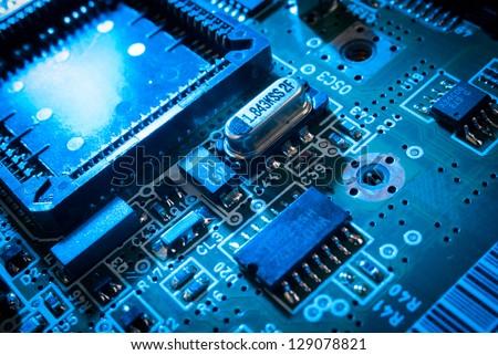 electronic board toned blue - stock photo