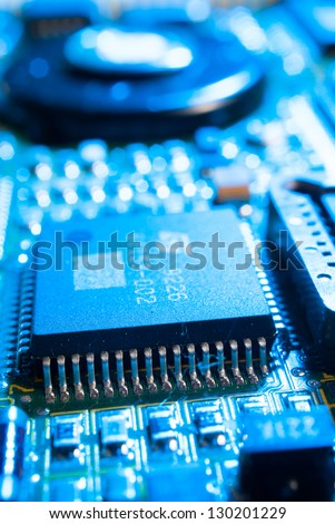 electronic board toned blue
