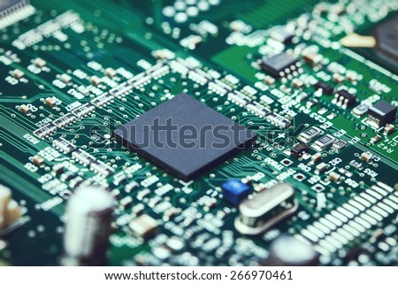 Electronic Board with processor - stock photo