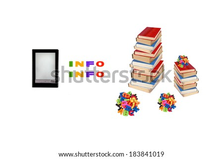Electronic book, e-learning, information in e-book, modern education concept. - stock photo