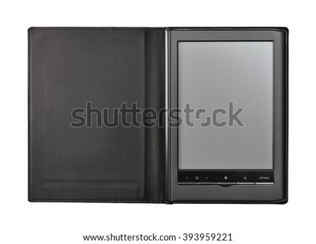 Electronic book isolated with clipping path. - stock photo