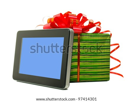 Electronic book reader with present box against white background - stock photo