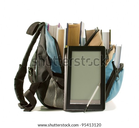 Electronic book with books in backpack on the white background - stock photo