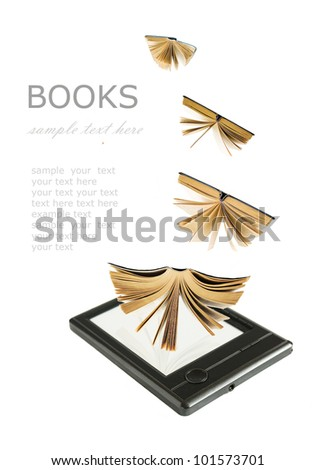 Electronic book with old paper book flying to it isolated on white background. Concept - stock photo