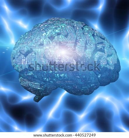 Electronic Brain 3D Render - stock photo
