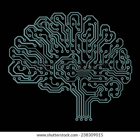 Electronic brain on black - stock photo