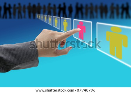 electronic business recruitment process for workforce human resource concept - stock photo