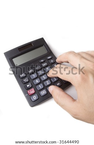Electronic Calculator and male finger on white