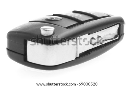 electronic car key isolated on a white background - stock photo