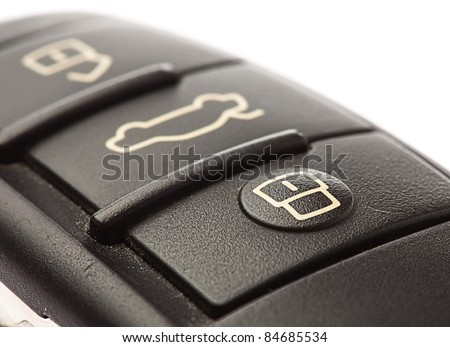 electronic car key sign, extreme closeup photo - stock photo