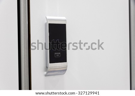 Electronic card-lock on the  wardrobe in a changing room. - stock photo