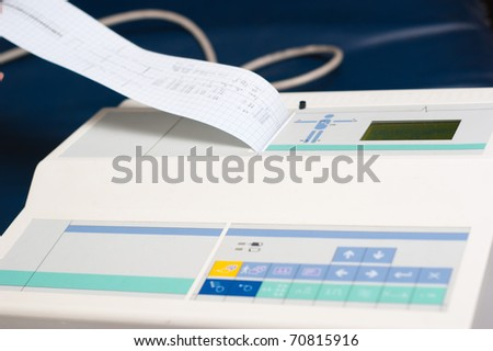 Electronic cardiograph medical tool closeup view - stock photo