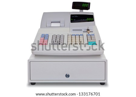 Electronic cash register isolated on a white background with clipping path. - stock photo