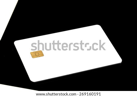 Electronic Chip On Blank Credit Card - stock photo