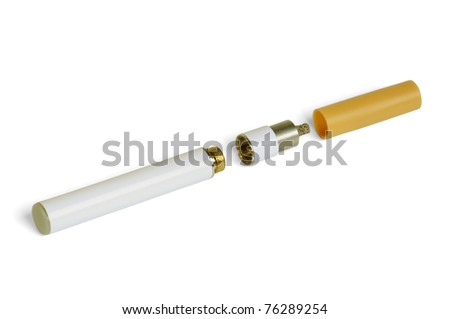 Electronic cigarette isolated on a white background - stock photo