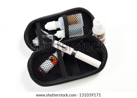 electronic cigarette on a white background with liquid aroma - stock photo