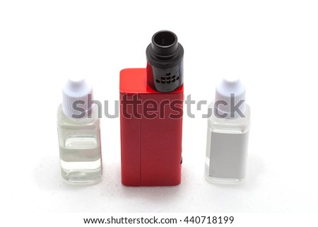 Electronic Cigarette Vaporizer bakomayzer isolated on white background. A battery with a high capacity - stock photo