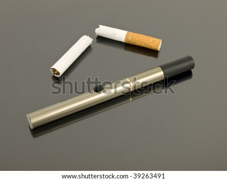 Electronic cigarette with broken analog cigarette