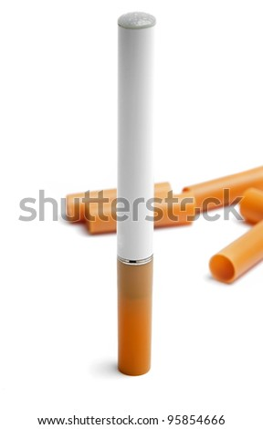 electronic cigarette with filters on white - stock photo