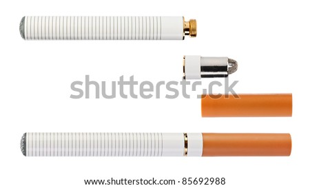 Electronic cigarette with parts isolated on a white background high quality macro shot - stock photo