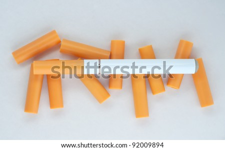 Electronic cigarette with replacement cartridges. - stock photo