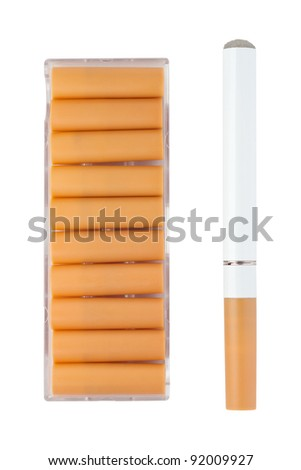 Electronic cigarette with replacement cartridges in the box, all isolated on white background with paths.