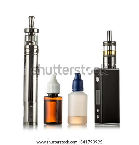 electronic cigarettes collection isolated on white - stock photo