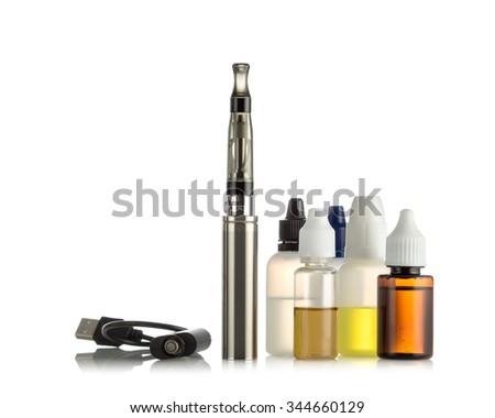Electronic cigarettes isolated on white - stock photo
