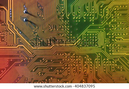 Electronic circuit board, close up. - stock photo