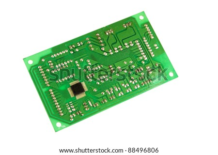 Electronic circuit board isolated on white background - stock photo