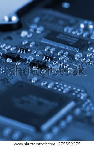 Electronic circuit board. Macro photo. Great details ! - stock photo