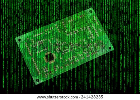Electronic circuit board on falling computer code background - stock photo