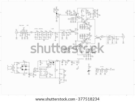Electronic Circuit Schematic Radio Frequency Amplifier Stock ...