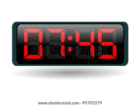 electronic clock with red numbers on white background - stock photo